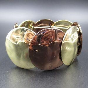 Jewelry - Vintage Shiny Gold & Bronze Tone Bracelet